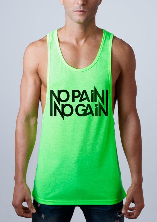 Camiseta de tirantes con frase No Pain No Gain Verde Flúor